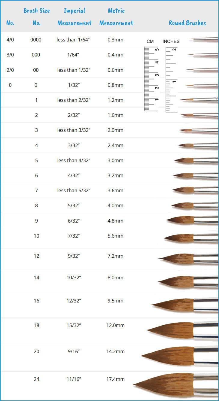 watercolor brush size chart round brushes