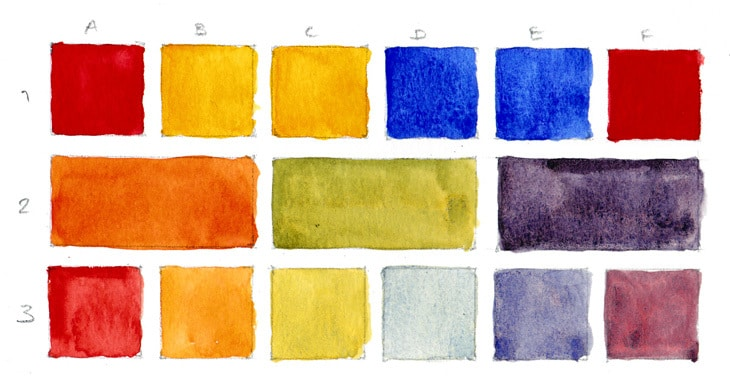 watercolor warm primary color chart
