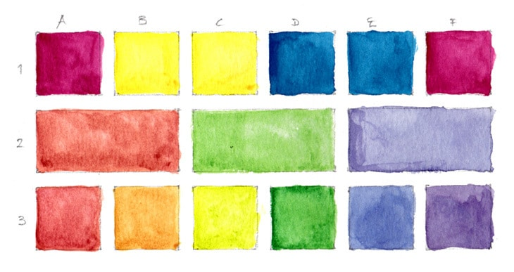 watercolor cool primary color chart