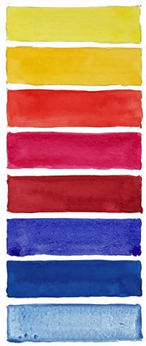recommended watercolor swatch primaries