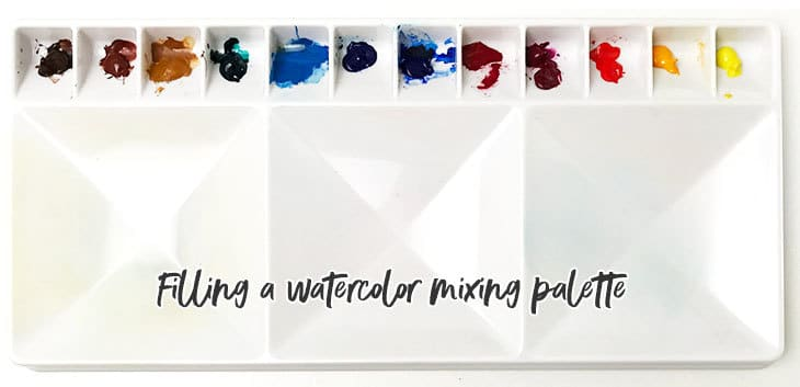 filling a mixing palette