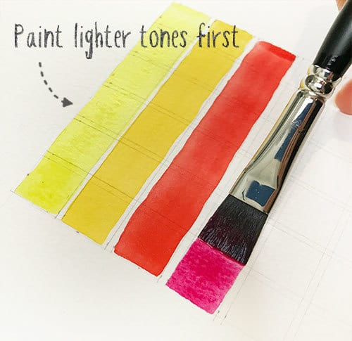 start by painting lighter hues