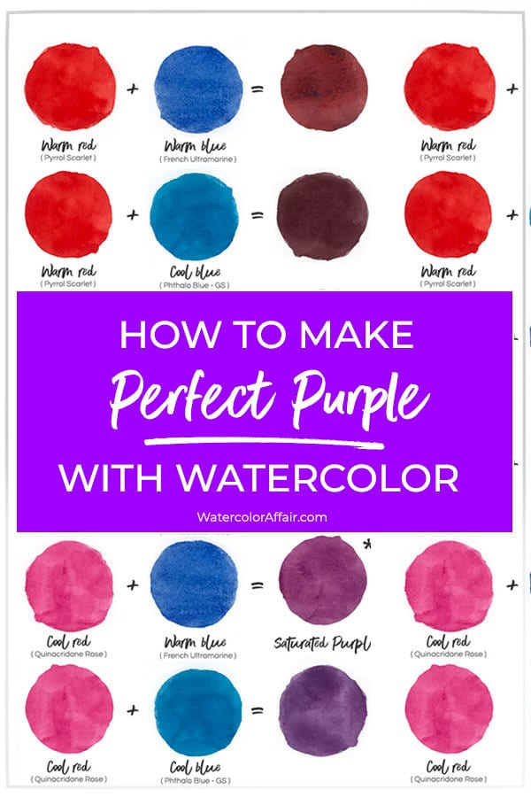 Mixing-purple-warm-and-cool-primary-colors | Color Mixing Chart Acrylic,  Mixing Paint Colors, Color Mixing Chart