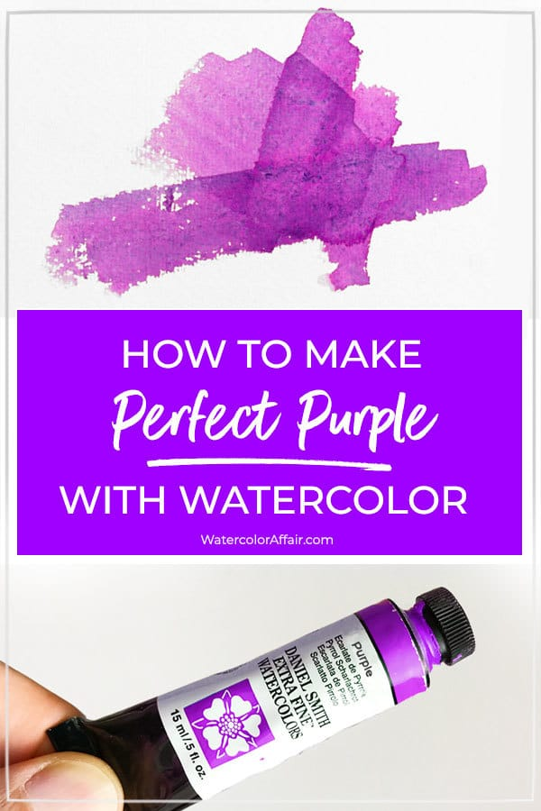 A beginners tutorial about how to mix a perfect purple color with watercolors