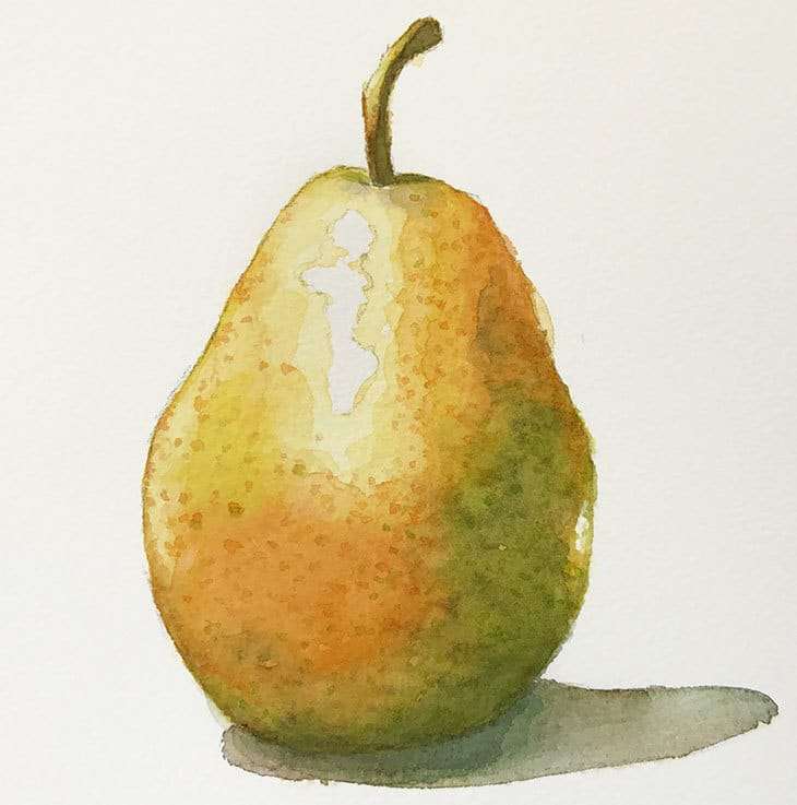 final watercolor pear painting