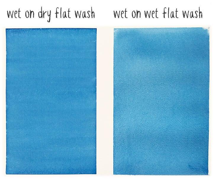 wet on dry vs wet on wet flat wash