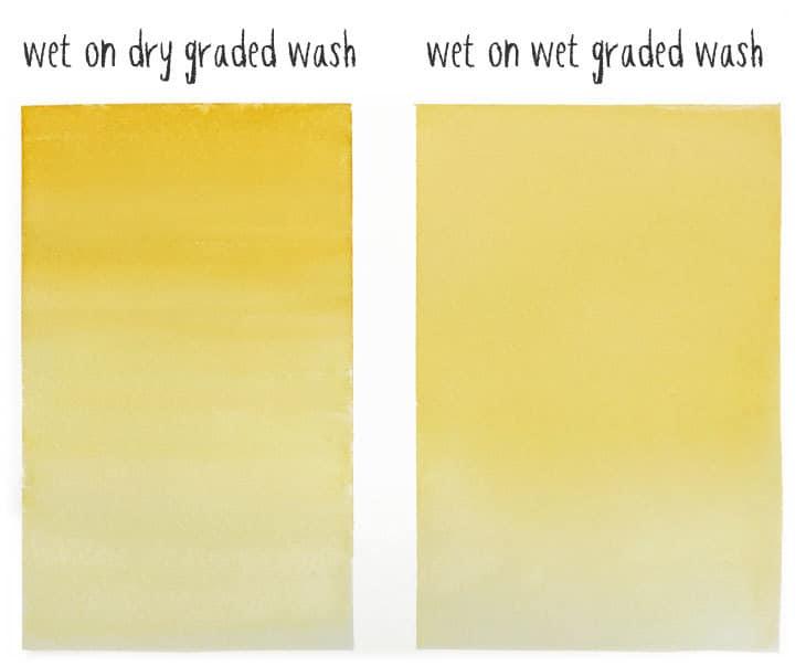wet on dry vs wet on wet graded wash