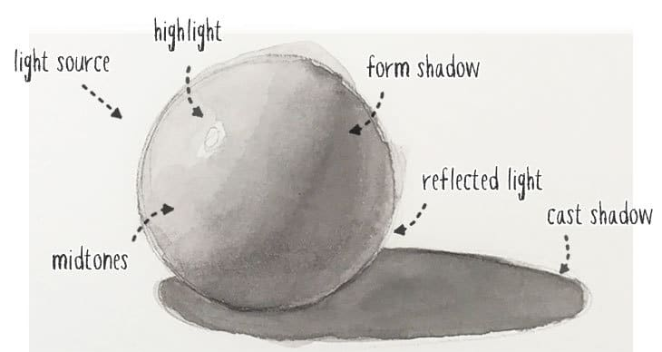 watercolor sphere shading and shadow