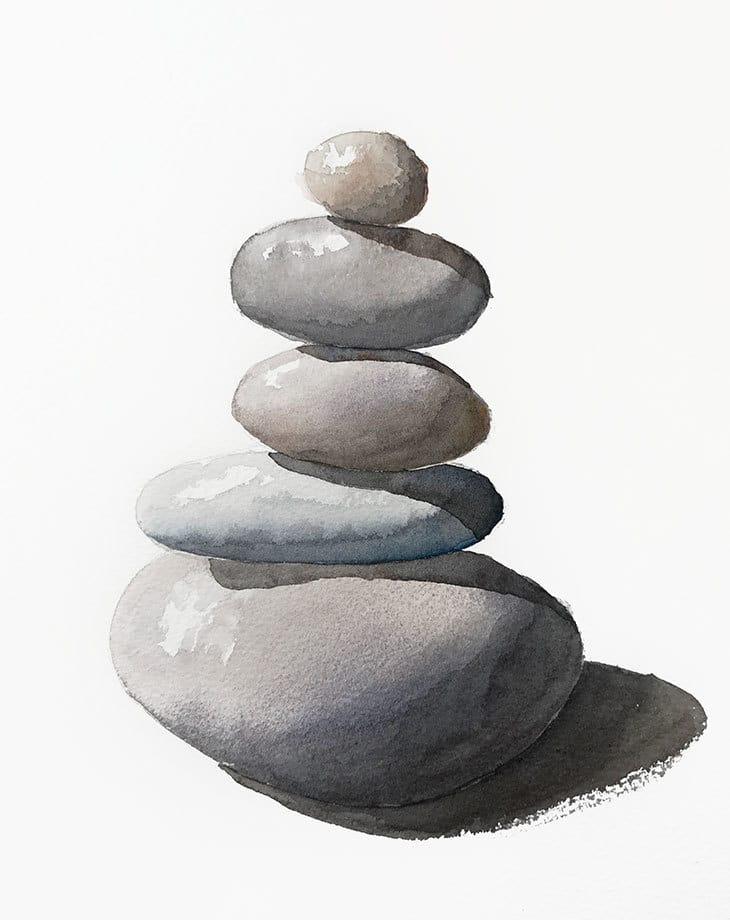 simple watercolor pebbles