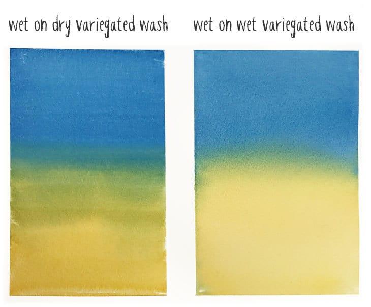wet on dry vs wet on wet variegated wash