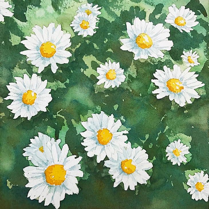 watercolor flowers tutorial final painting