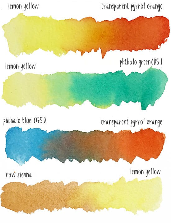 watercolor pear color palette