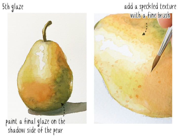 watercolor pear tutorial step 3