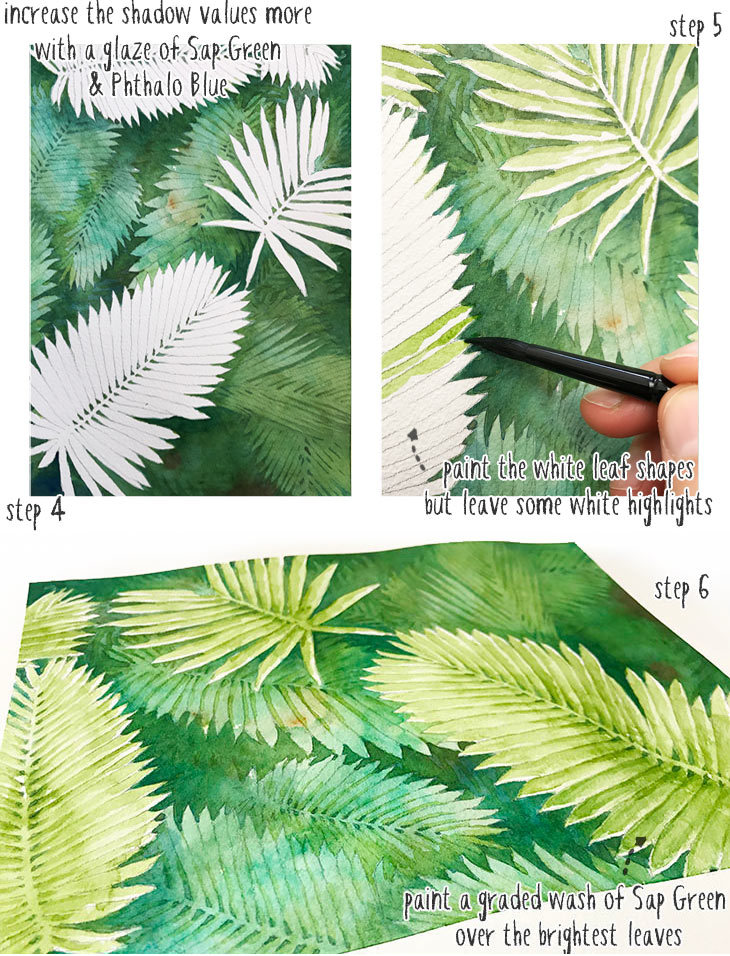 negative space watercolor painting step 4 to 6