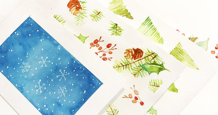 easy watercolor christmas cards