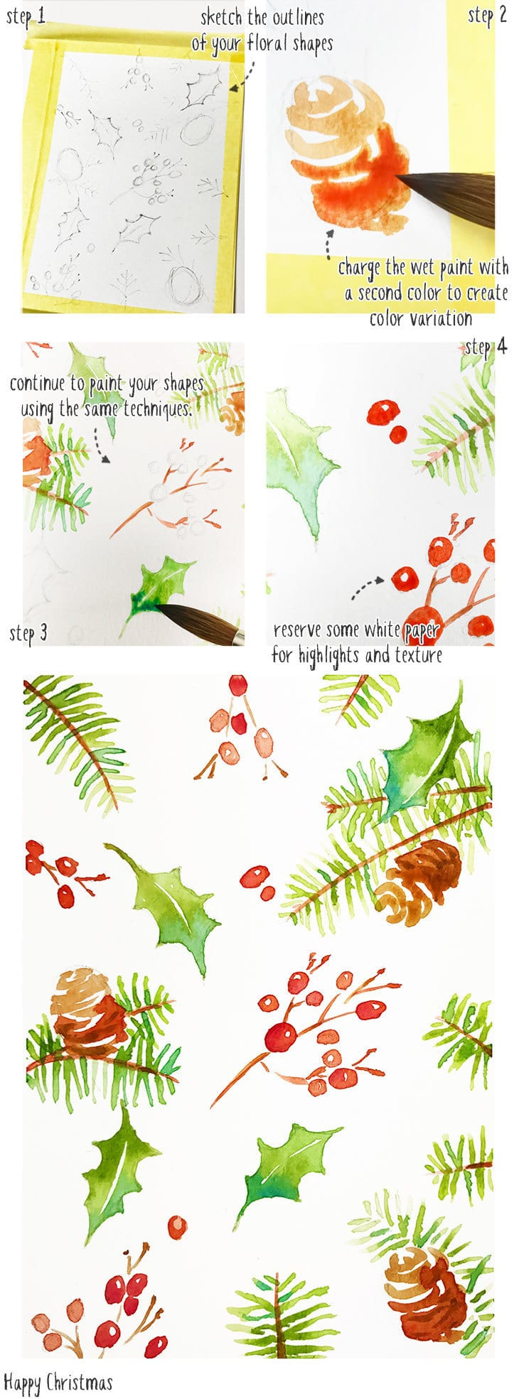 painting a floral watercolor christmas card pattern