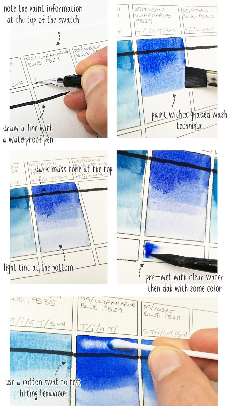 how to make watercolor swatches step by step
