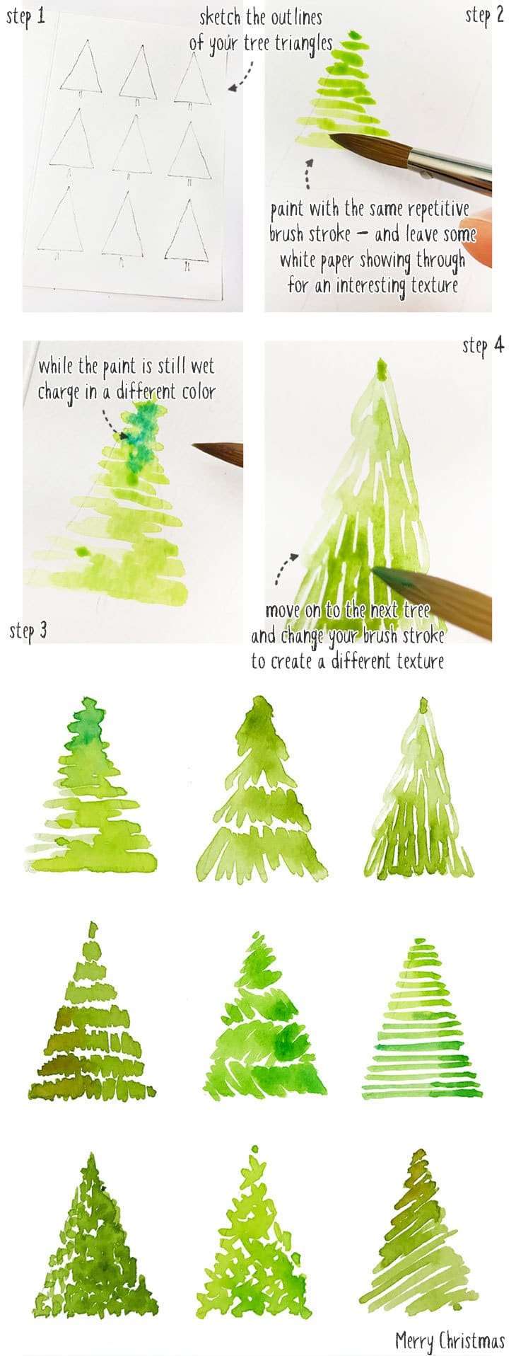 painting a watercolor christmas tree card step by step