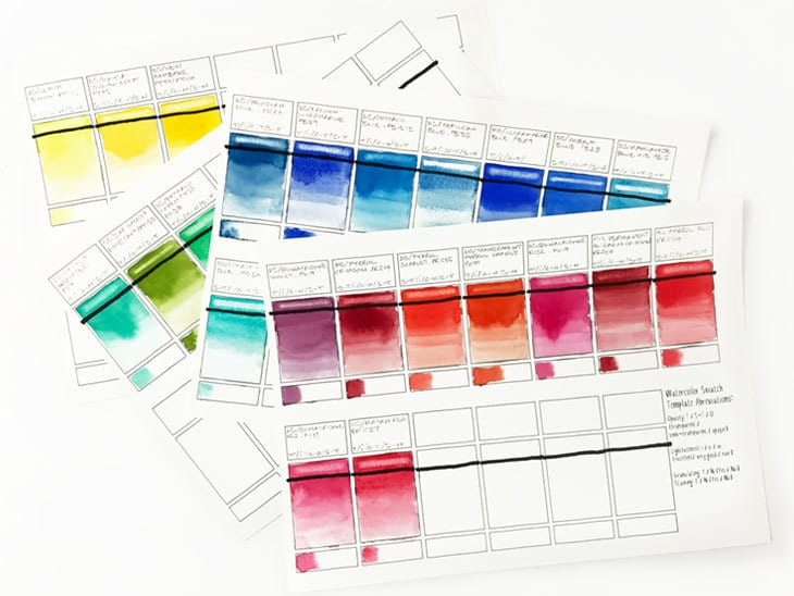 watercolor swatch sheets
