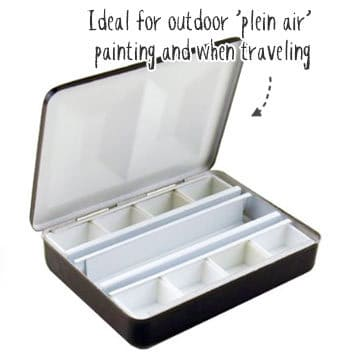 empty watercolor palette for outdoor painting