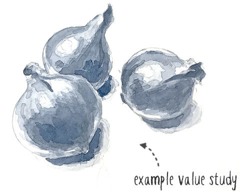 example of a value study in watercolor
