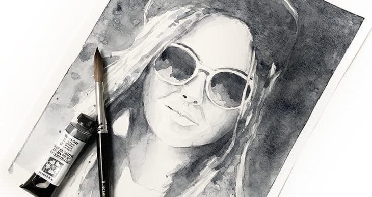 monochrome watercolor painting lesson