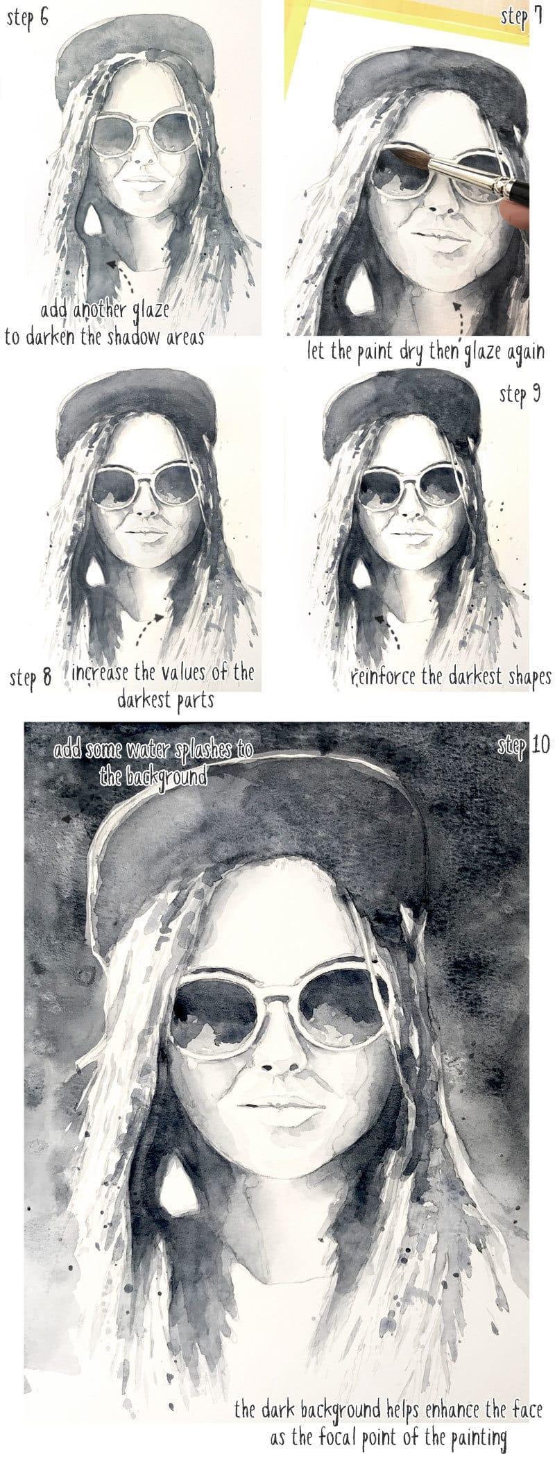 monochrome watercolor portrait tutorial part 2