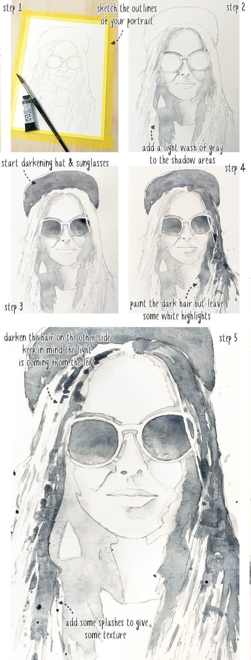 monochrome watercolor portrait tutorial step by step