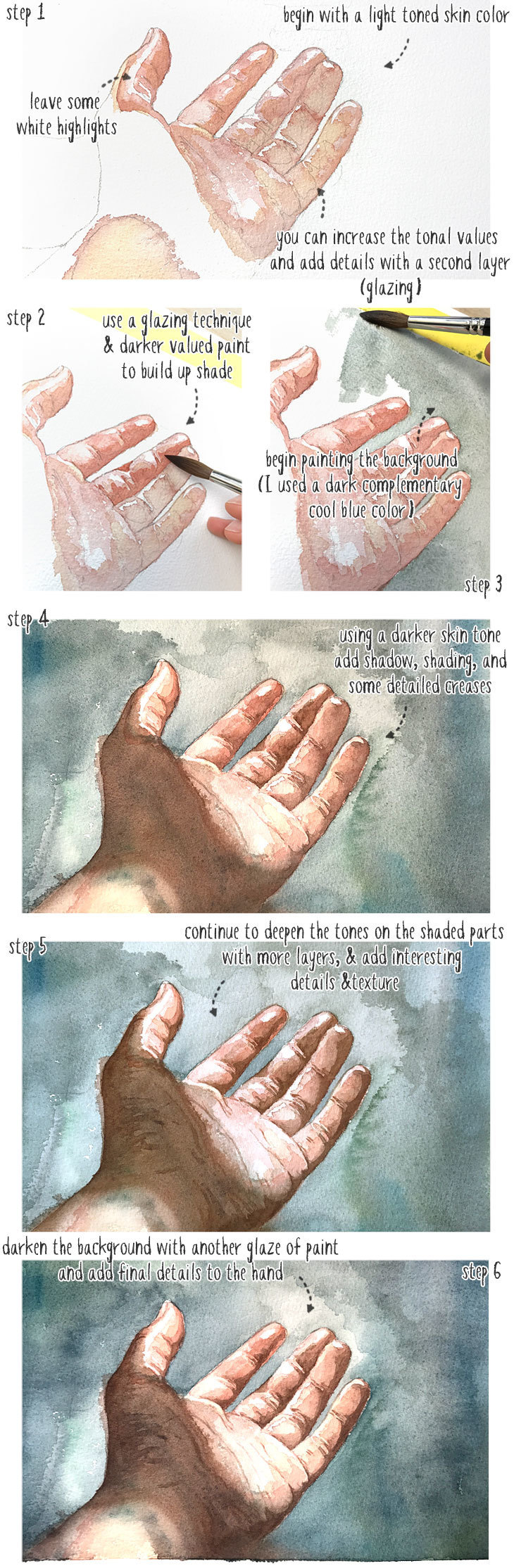 watercolor skin tone step by step demo