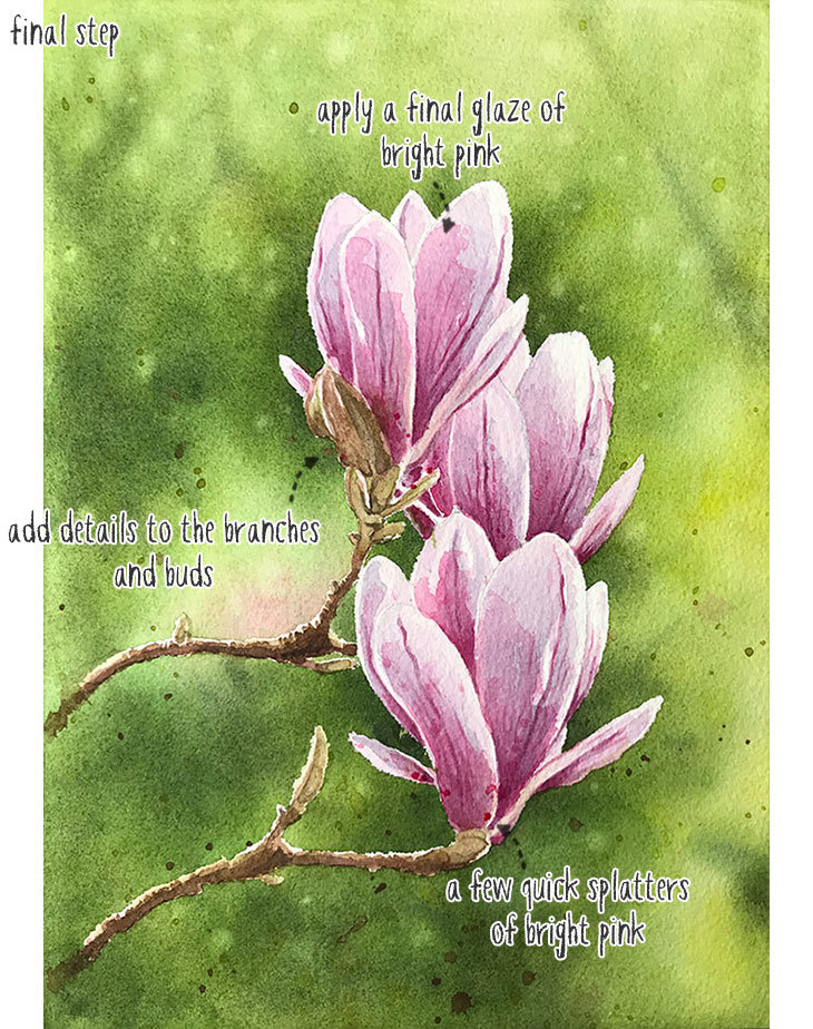 final step watercolor magnolia painting