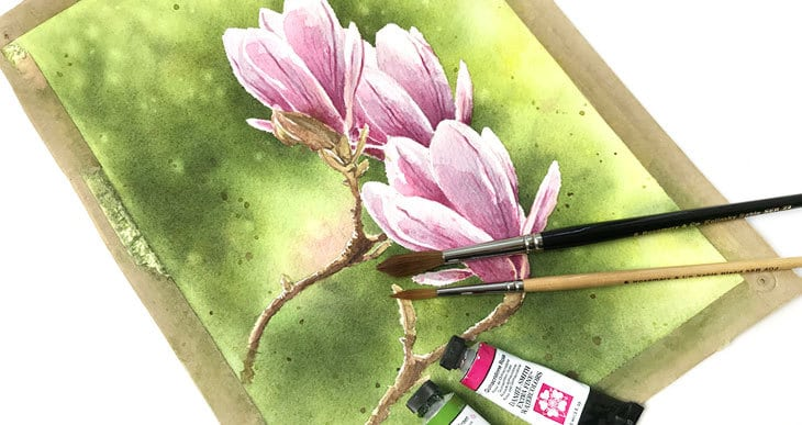 how to paint watercolor magnolia flowers