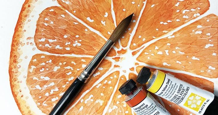 painting watercolor oranges