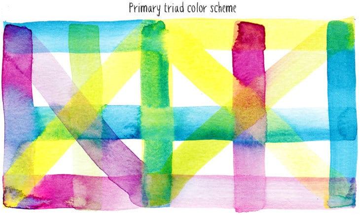 primary triad watercolor scheme