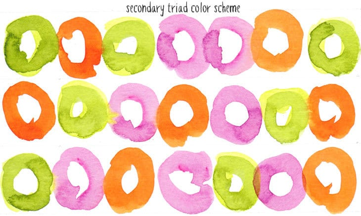 secondary triad watercolor scheme