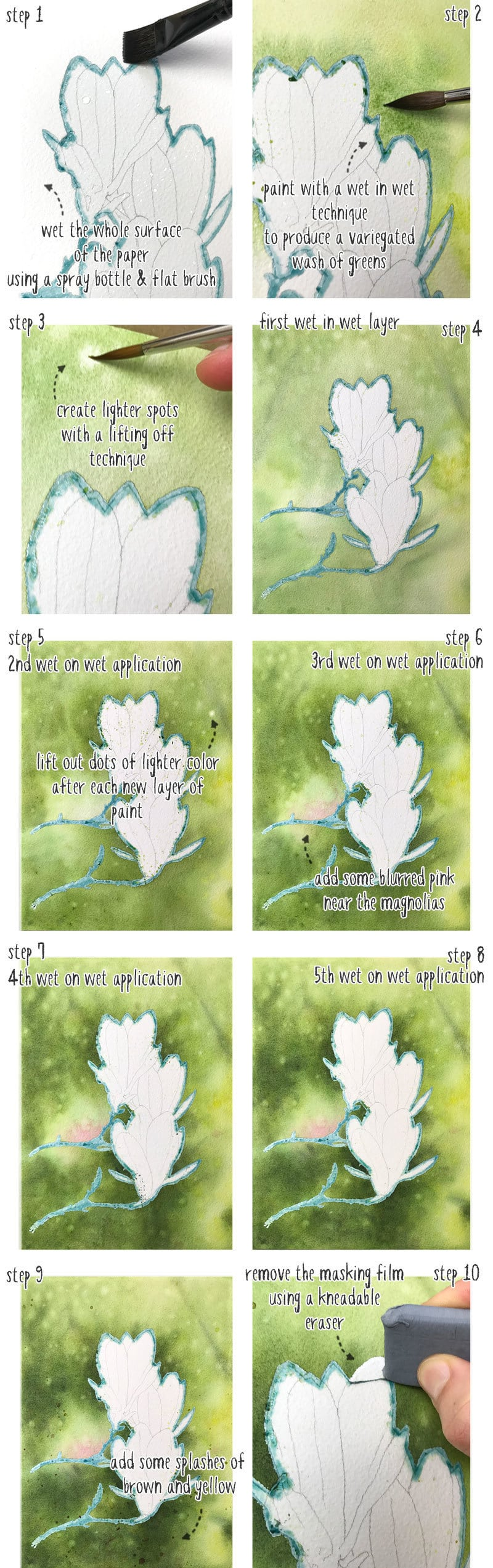 watercolor magnolia wet in wet background step by step