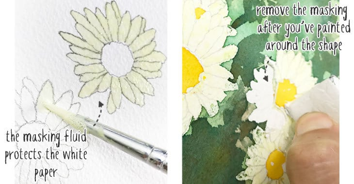 example of watercolor masking fluid