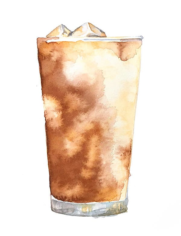 iced coffee watercolor demo