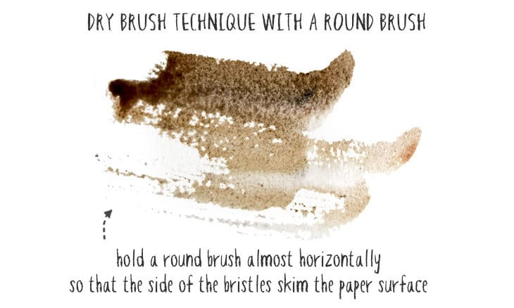 dry brush with a round brush