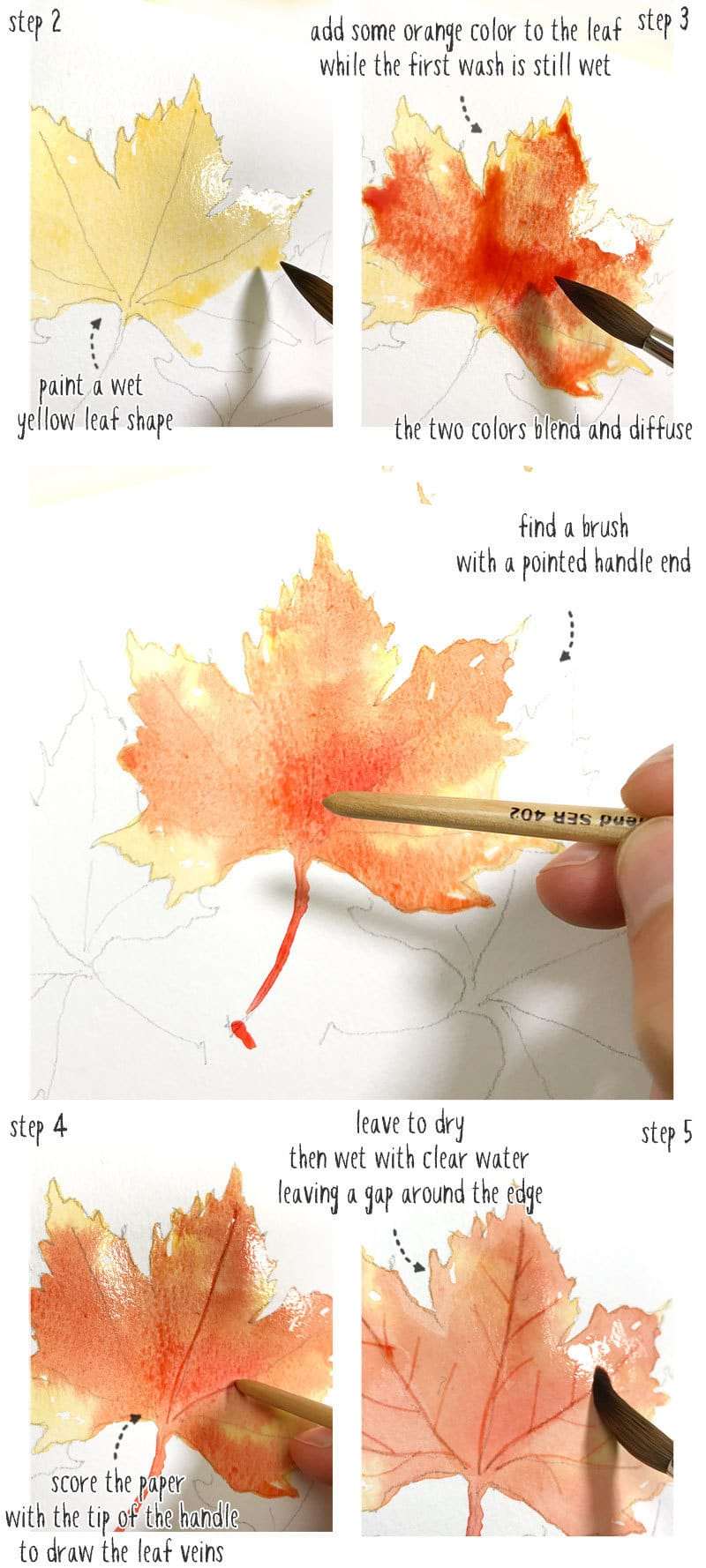 easy watercolor fall leaves part1
