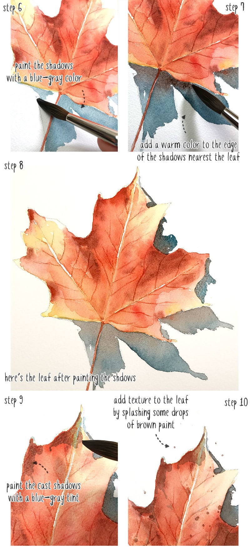 realistic watercolor fall leaf  part2