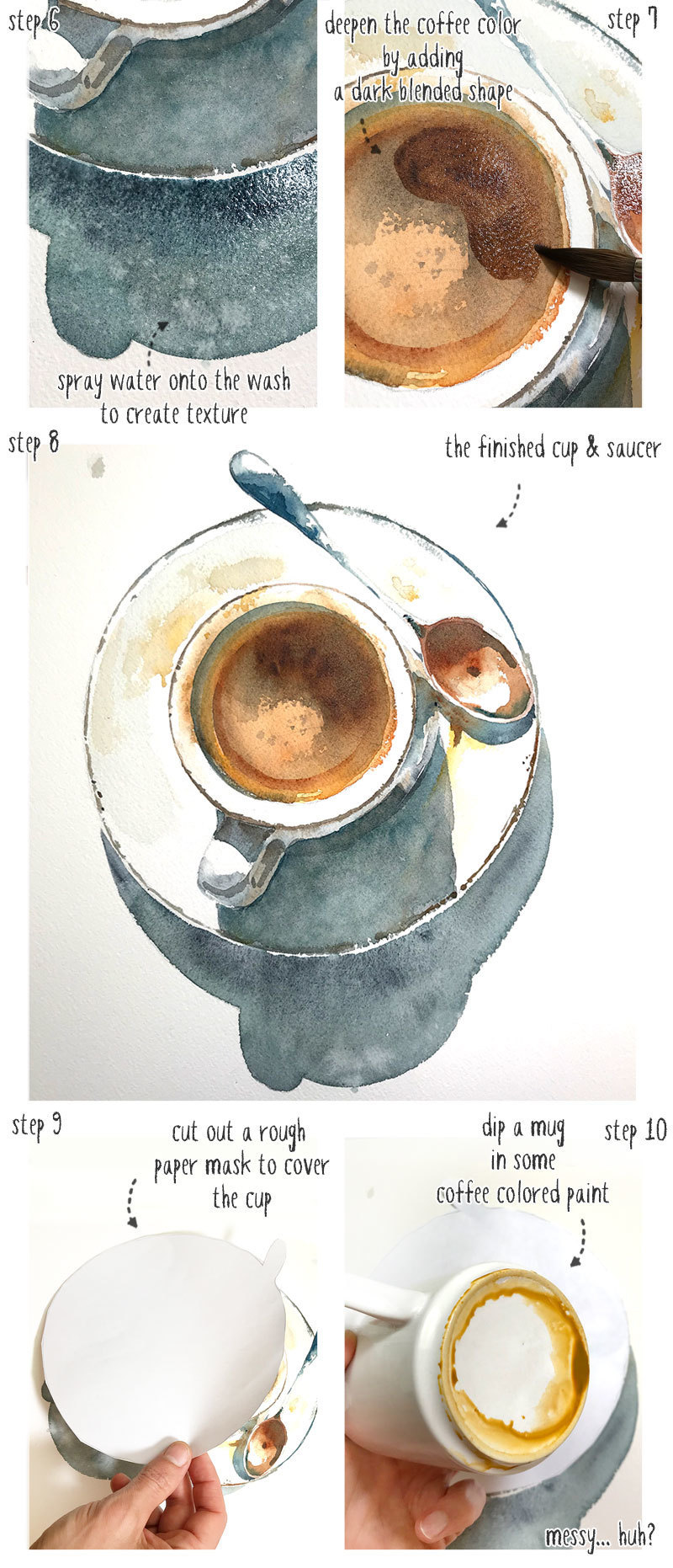 step by step watercolor coffee cup part 3
