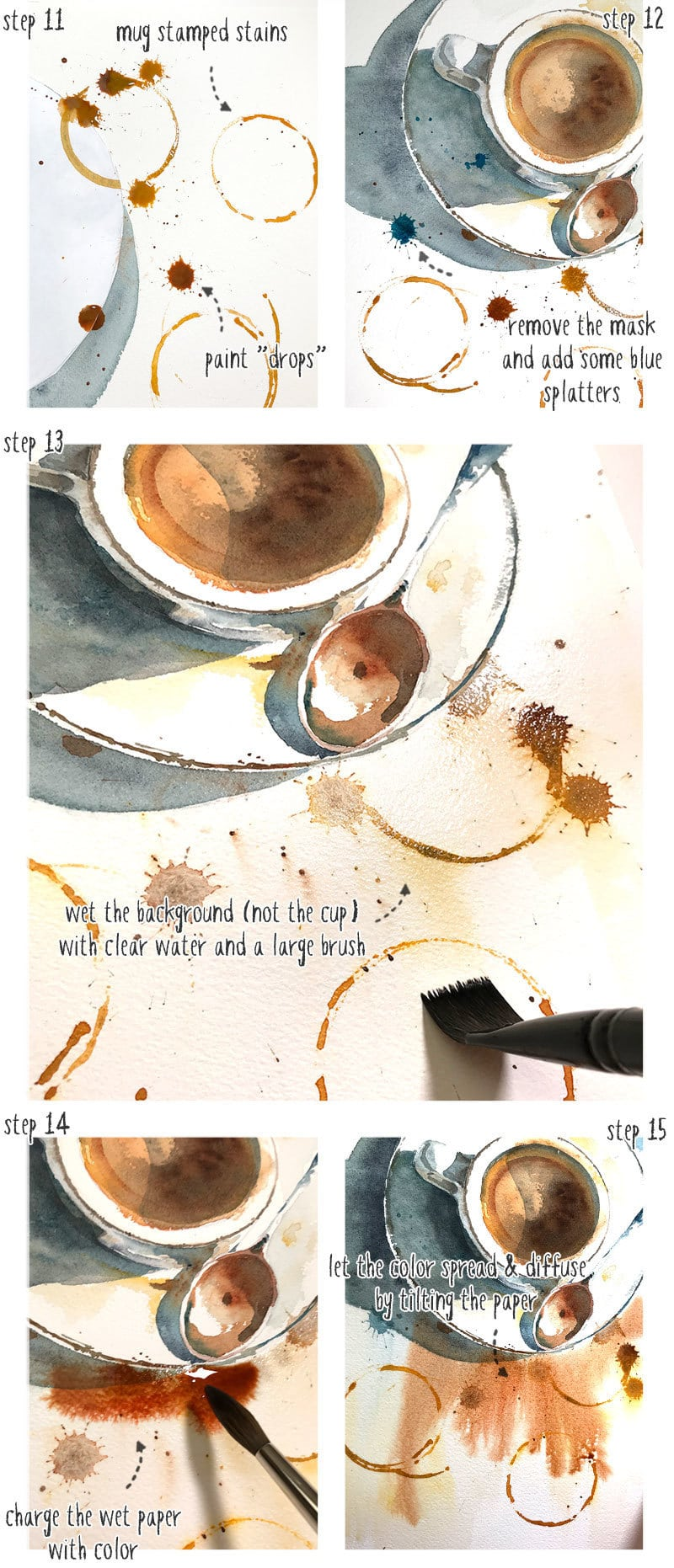 step by step watercolor coffee cup part 4