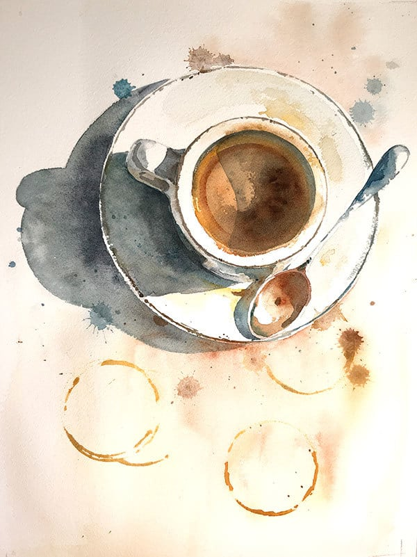 watercolor coffee cup final painting