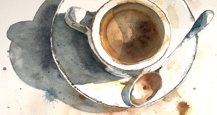 watercolor coffee cup tutorial