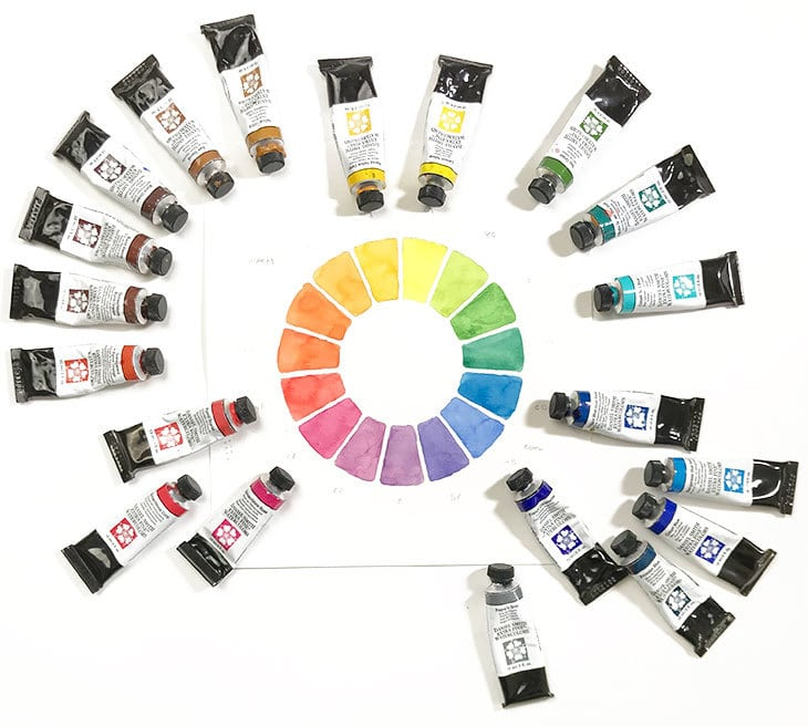 organizing watercolors around color wheel
