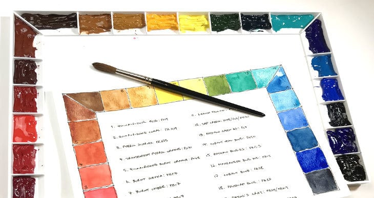 setting up watercolor palette colors