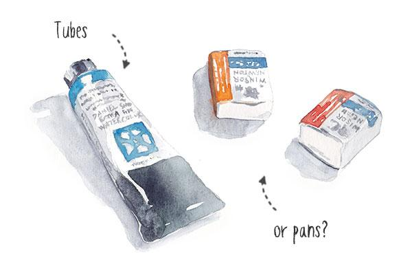 watercolor tubes or pans