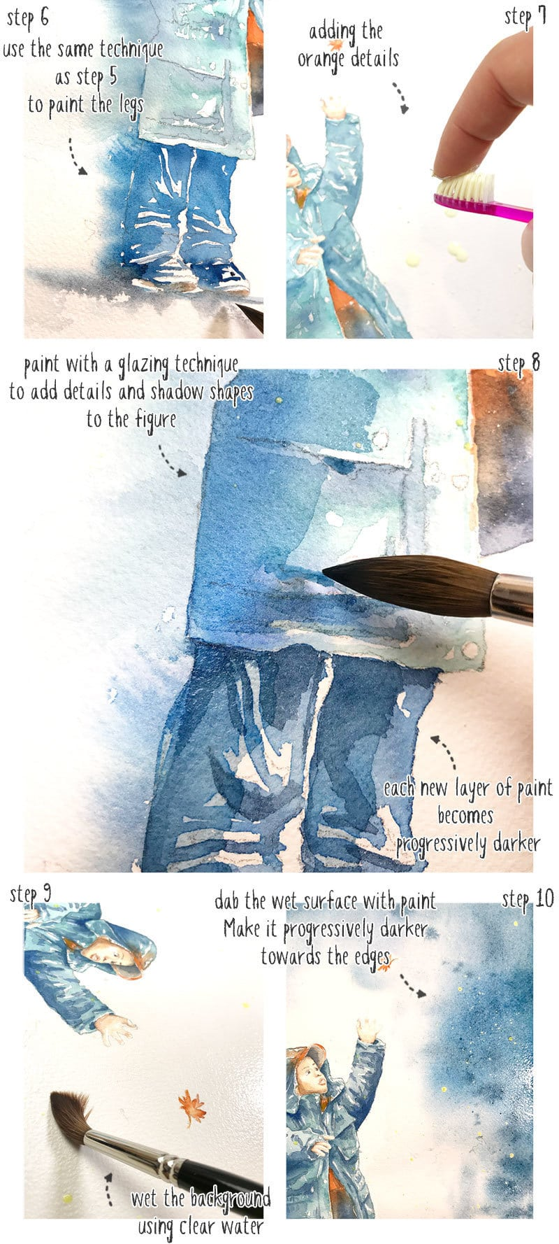 winter watercolor scene step by step part 2