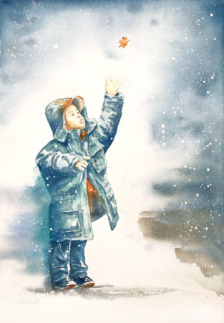 winter watercolor scene boy in the snow
