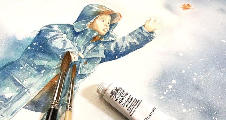 winter watercolor scene